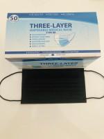 Atemschutzmaske, Maske, Hygienemaske, Einwegmaske, 3 Lagig 50 Stück BOX  Schwarz