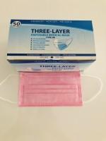 Atemschutzmaske, Maske, Hygienemaske, Einwegmaske, 3 Lagig 50 Stück BOX Hellrosa