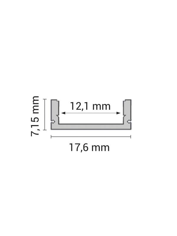 LED Aluminium Profil Micro eloxiert 1m SET